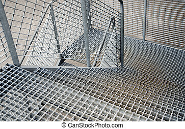 Metal staircase background - Close up of metal staircase...