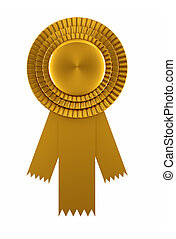 Golden award ribbon isolated over white background