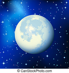 Moon - Vector illustration - full moon in the star sky
