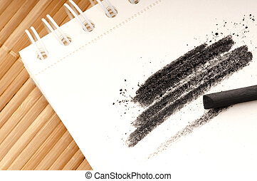 Black charcoal with smudge - Artist's black charcoal with...