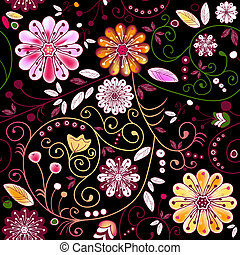Seamless dark floral pattern with vivid flowers and curls...