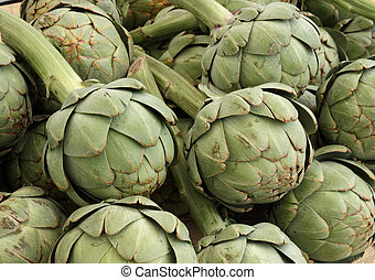 Artichokes in the market: seasonal vegetables