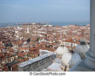 Venice town air view with three Saint Marc Cathedral dome...
