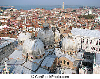 Venice town air view with the Saint Mark Cathedral dome