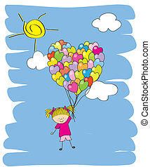 Baby girl flying in a balloon. Invitation