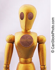 Mannequin - A mannequin in golden color with 1 cent coins