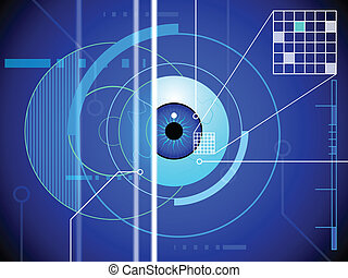 Retina scan background - An eyeball is submitted to a...