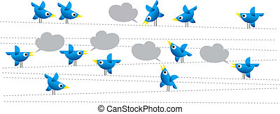twitter birds on white background