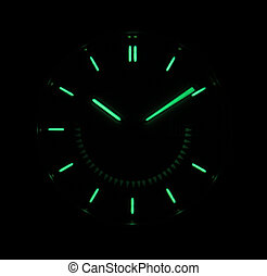 Smiling clock face - A luminous clock face with a wicked,...