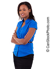 Smiling african american business woman with folded arms