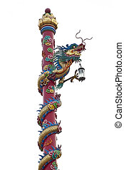 Chinese dragon symbol as white isolate background