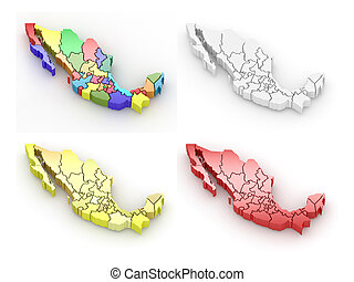 Three-dimensional map of Mexico on white isolated background...