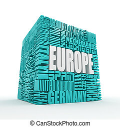 Europe. Box from name of european countries