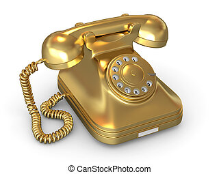 Golden phone on white isolated background 3d