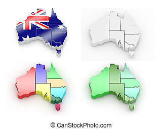 Three-dimensional map of Australia on white isolated...