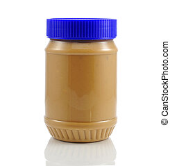 Peanut Butter  - a jar of peanut butter on white background