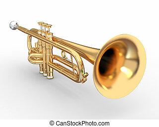 dourado, trompete, 3D
