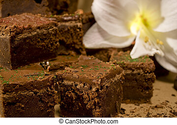 Chocolate Fudge Brownies - Chocolate fudge brownies with a...