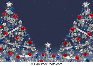 military dog tags on Christmas tree - Bows and dog tags on...