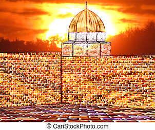 Wall - A wall of precious golden stones with a building