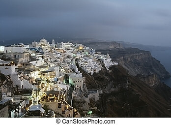 Thira, Santorini island, Greek: the caldera after the...