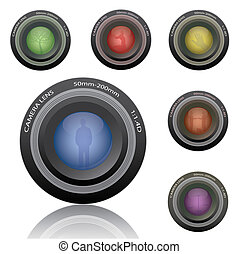 Image of various colorful camera lenses isolated on a white background.
