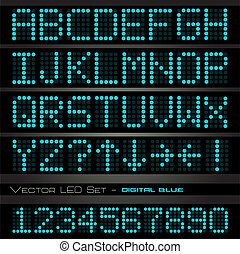 Image of blue digital alphabetic and numeric characters on a...