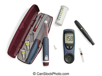 Insulin kit - Blood glucose meter, insulin pen, test strip,...
