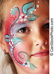 make up - little girl with body painted flower face