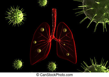 Virus infection in lungs