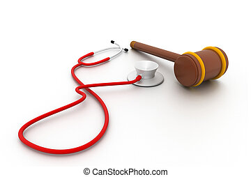 Stethoscope and gavel isolated - Stethoscope and gavel...
