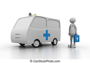 Doctor with ambulance. (Health care