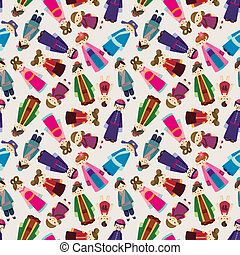 cartoon Chinese people seamlese pattern