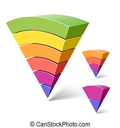6, 4 and 2-layered pyramid shapes - Vector illustration of...