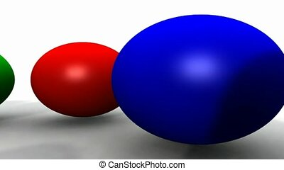 Red green and blue balls