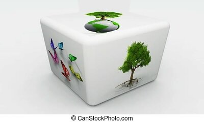 Cube with green images