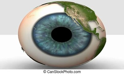 world map revolving around eyeball