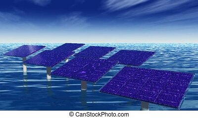 Solar panels in water