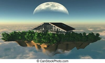 Home floating in the sky