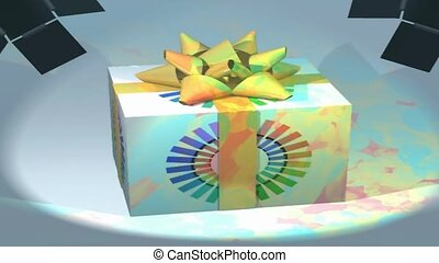 Present, animated, wrapping paper