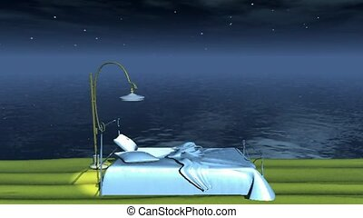 Animated, bed, moon rising out of the water