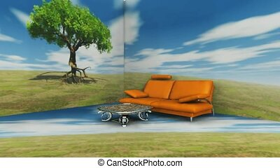 Sofa, coffee table and tree in landscape