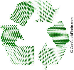 Green Recycle Halftone - A Colourful Green Recycle Sign...