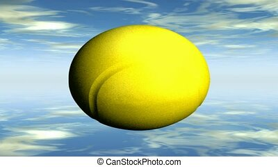 Tennis ball in the sky