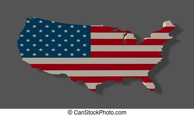 America flag on a map
