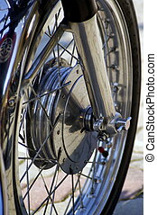 wheel - a particular view of a motorbike