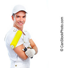 Painter. - Professional smiling painter. Isolated over white...
