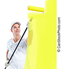 Painter - Professional smiling painter Isolated over white...