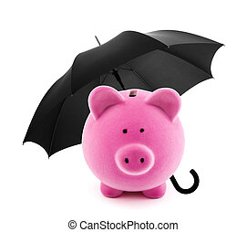 Financial insurance Piggy bank with umbrella