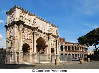 The Arch of Constantine and the Colosseo - The Arch of...
